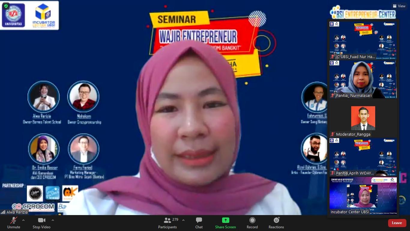 UBSI Hadirkan Alwa Rerizia Untuk Jadi Pembicara Seminar Entrepreneur